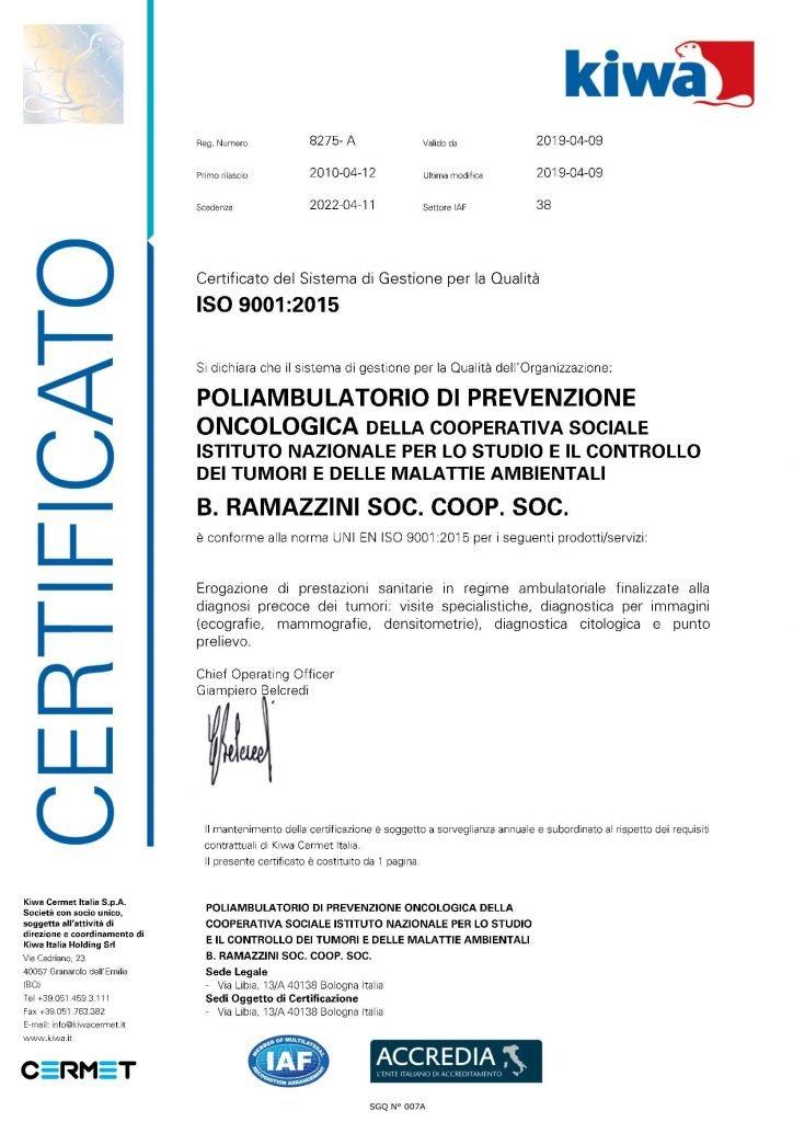 Certificazione Istituto Ramazzini